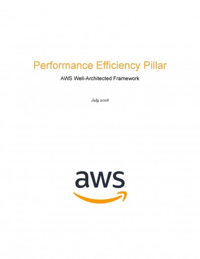 Performance Efficiency Pillar: AWS Well-Architected Framework (AWS Whitepaper) by AWS Whitepapers