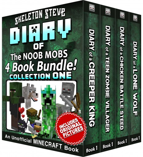Diary Book Minecraft Series – Skeleton Steve & the Noob Mobs Collection 1: Unofficial Minecraft Books for Kids, Teens, & Nerds – Adventure Fan Fiction … Noob Mobs Series Diaries – Bundle Box by Skeleton Steve